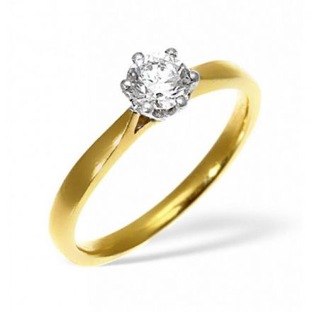 18K Gold 0.50ct Diamond Solitaire Ring, SR01-50PKY